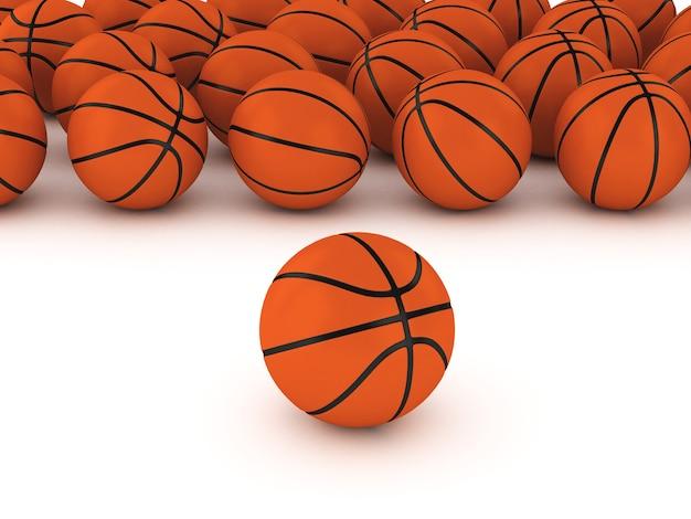 Basketball 3d sur fond blanc Photo Premium