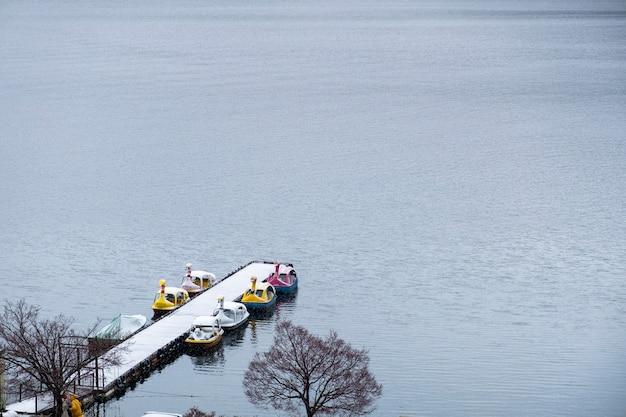 Bateau de canard dans le lac kawaguchiko, japon Photo gratuit