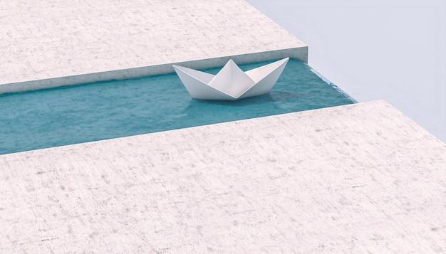 Bateau En Papier Naviguant Vers Une Cascade. Photo Premium