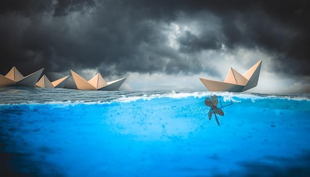 Bateaux En Papier Sur L'eau Photo Premium