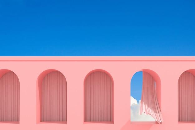 Bâtiment Abstrait Minimal Avec Fenêtre En Arc Et Rideau De Flux Sur Fond De Ciel Bleu, Conception Architecturale Avec Ombre Et Ombre Sur La Texture Rose. Rendu 3d. Photo Premium