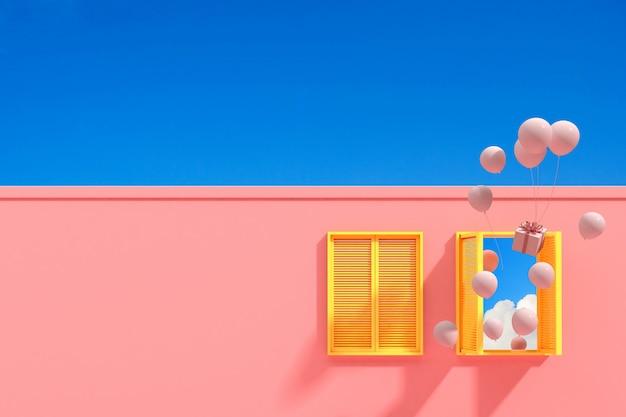 Bâtiment Abstrait Minimal Avec Fenêtre Jaune Et Ballons Flottants Sur Fond De Ciel Bleu, Conception Architecturale Avec Ombre Et Ombre Sur La Texture Rose. Rendu 3d. Photo Premium