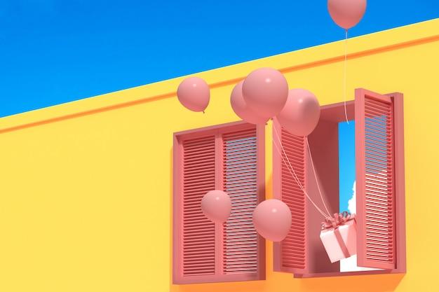 Bâtiment Abstrait Minimal Avec Fenêtre Rose Et Ballons Flottants Sur Le Ciel Bleu, Conception Architecturale Avec Ombre Et Ombre Sur La Texture Rose. Rendu 3d. Photo Premium