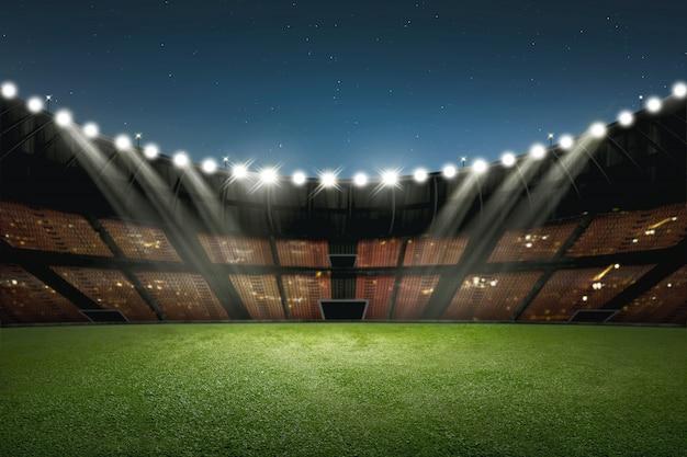 Bâtiment moderne du stade de football avec éclairage Photo Premium