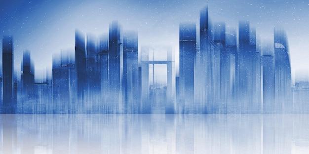 Bâtiment moderne futuriste dans la ville avec réflexion sur sol en béton. Photo Premium
