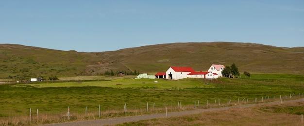 Bâtiments de ferme sur la colline avec des chevaux et des pâturages, sans nuages Photo Premium