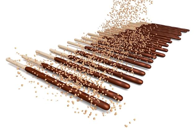 Bâtonnets de chocolat et saupoudrer d'amandes en poudre Photo Premium