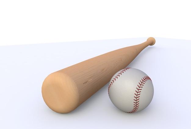 Batte De Baseball Isolé Sur Fond Blanc, Rendu 3d Photo Premium