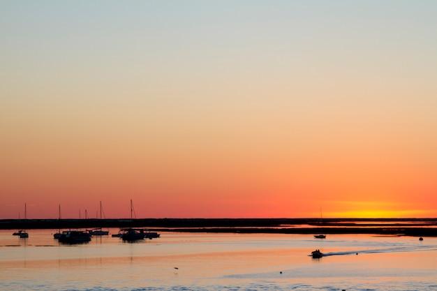 Beau coucher de soleil sur les marais de ria formosa. Photo Premium