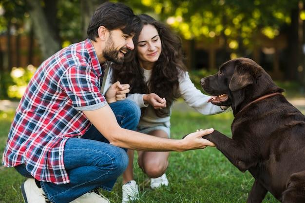 Beau couple aimant leur chien dans le parc Photo gratuit
