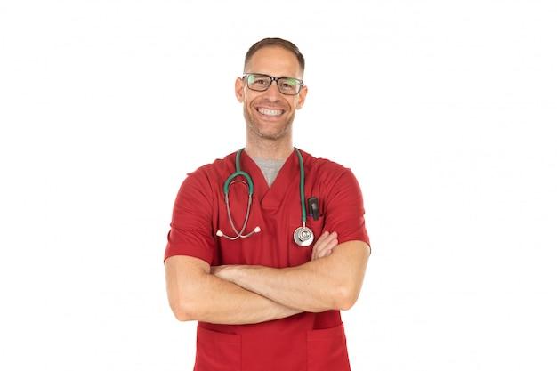 Beau docteur avec des lunettes Photo Premium