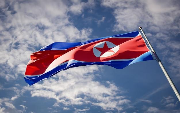 Beau Drapeau National De La Corée Du Nord Flottant Sur Le Ciel Bleu Photo Premium