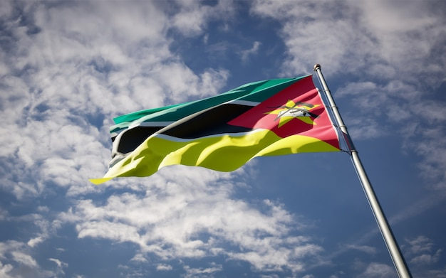 Beau Drapeau National Du Mozambique Flottant Photo Premium