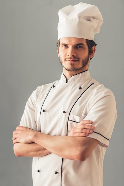 Beau Jeune Cuisinier Photo Premium