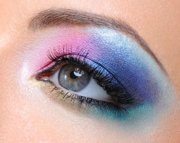 Beau Maquillage De Mode Lumineux De L'oeil Féminin - Macro Shot Photo gratuit