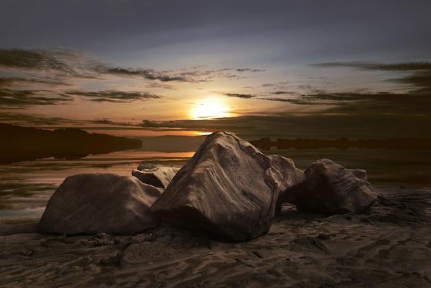 Beau panorama de la vue du coucher de soleil Photo Premium
