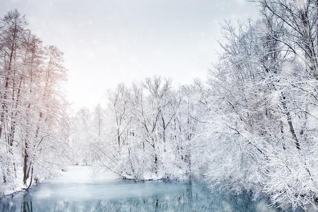 Beau paysage d'hiver avec des arbres enneigés. bonne année. joyeux noël Photo Premium