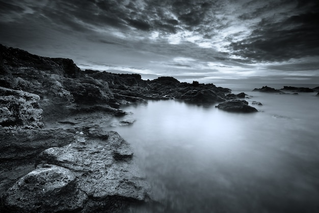 Beau Paysage Marin Monochrome Naturel Photo Premium