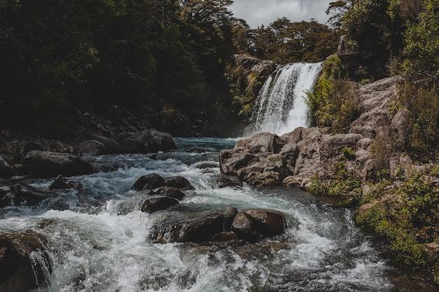 Beau Paysage D'une Puissante Cascade Dans La Piscine De Gollum, Nouvelle-zélande Photo gratuit