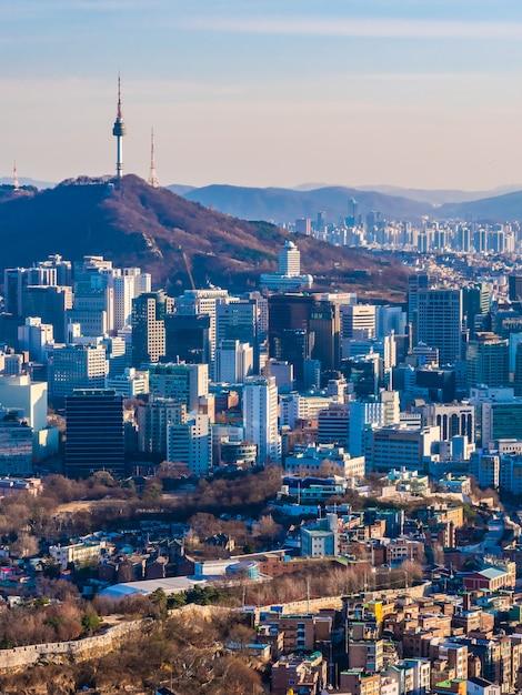 Beau paysage urbain de construction d'architecture dans la ville de séoul Photo gratuit