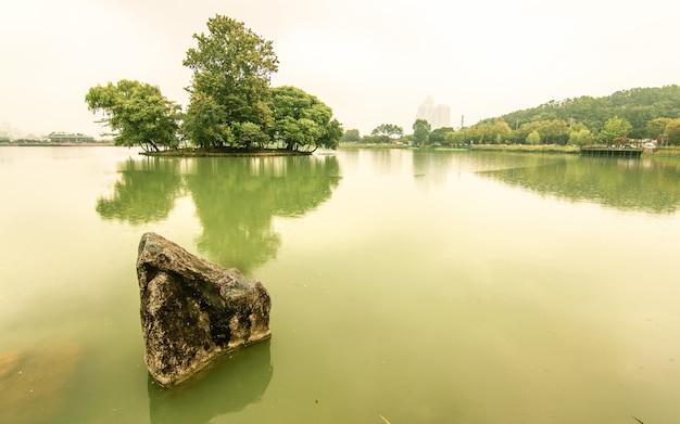 Beau reflet au lac, corée du sud Photo Premium