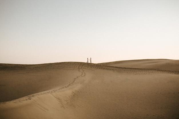 Beau Tir D'une Colline Désertique Avec Deux Femmes Se Tenant La Main Sur Le Dessus Au Loin Photo gratuit