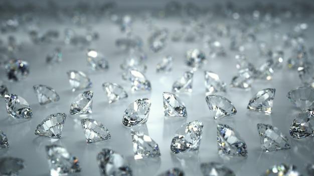 Beaucoup de diamants sur fond blanc Photo Premium