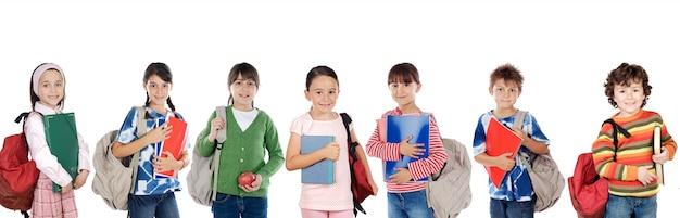 Beaucoup d'enfants prêts pour l'école Photo Premium