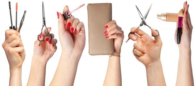 Beaucoup De Mains Avec Des Articles De Maquillage Photo Premium