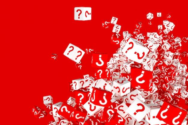 Beaucoup de dés rouges et blancs en chute avec des points d'interrogation sur les côtés. illustration 3d Photo Premium