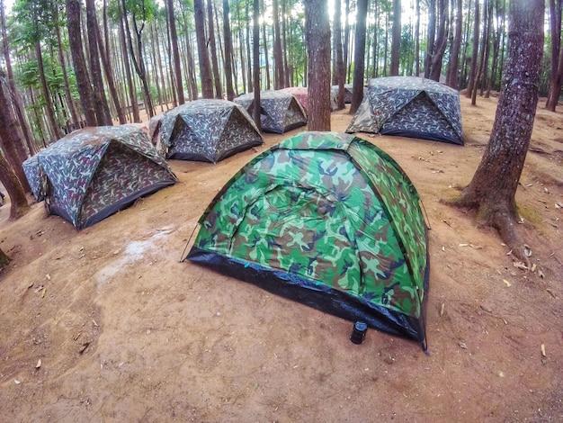 Beaucoup de tentes soldat modèle dans la zone de camping dans la forêt de pins. Photo Premium