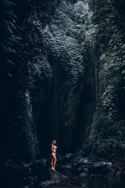 Beauté femme posant dans une cascade, bikini, nature étonnante, portrait en plein air Photo gratuit
