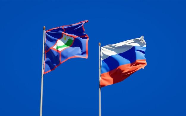 Beaux Drapeaux D'état National De Saint-eustache Et De La Russie Ensemble Sur Le Ciel Bleu. Illustration 3d Photo Premium