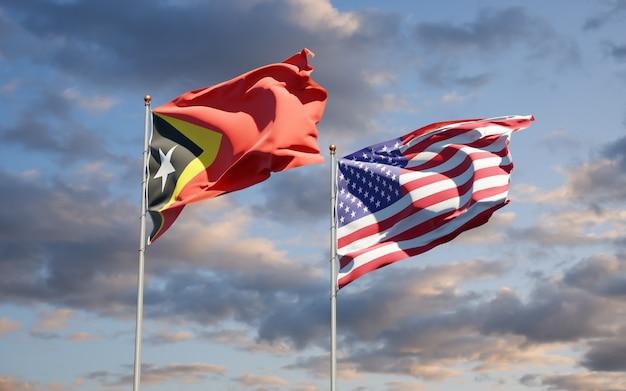 Beaux Drapeaux Des états Nationaux Du Timor Oriental Et Des états-unis Ensemble Photo Premium