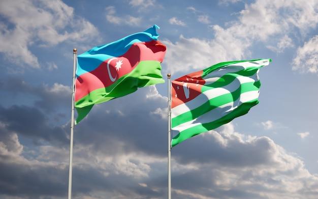 Beaux Drapeaux Nationaux De L'abkhazie Et De L'azerbaïdjan Ensemble Photo Premium