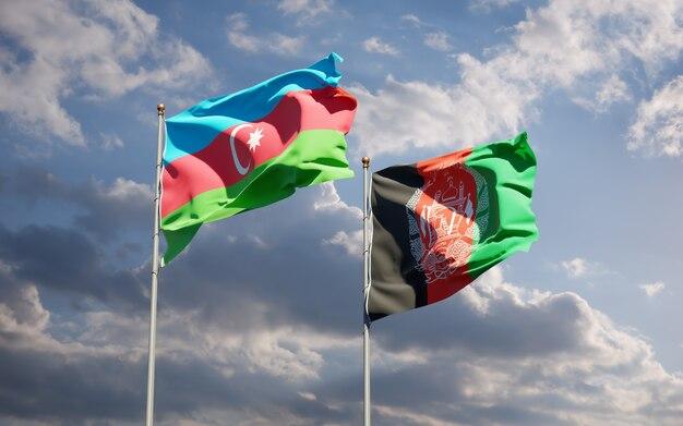 Beaux Drapeaux Nationaux De L'afghanistan Et De L'azerbaïdjan Photo Premium