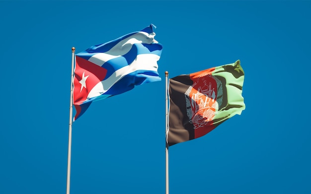 Beaux Drapeaux Nationaux De L'afghanistan Et De Cuba Photo Premium