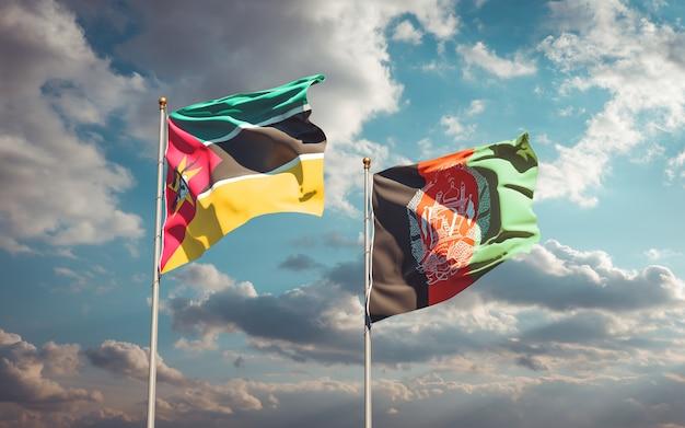 Beaux Drapeaux Nationaux De L'afghanistan Et Du Mozambique Photo Premium
