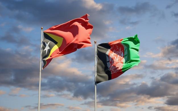 Beaux Drapeaux Nationaux De L'afghanistan Et Du Timor Oriental Photo Premium