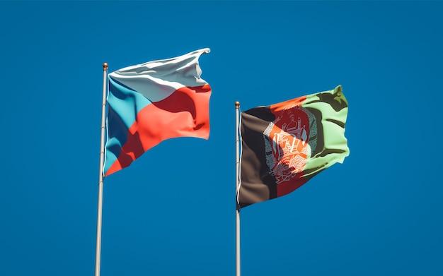 Beaux Drapeaux Nationaux De L'afghanistan Et De La République Tchèque Photo Premium