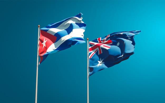 Beaux Drapeaux Nationaux De L'australie Et De Cuba Ensemble Photo Premium