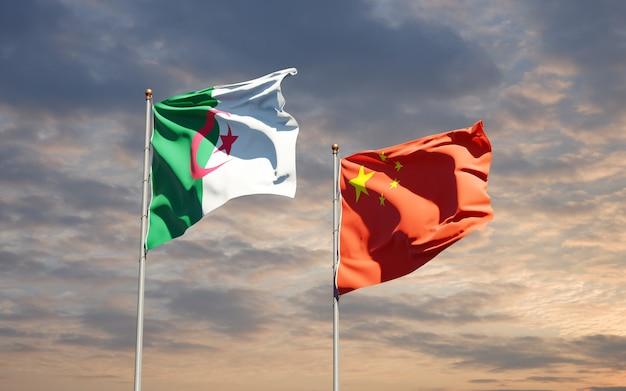 Beaux Drapeaux Nationaux De La Chine Et De L'algérie Ensemble Au Ciel Photo Premium