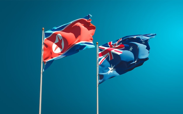 Beaux Drapeaux Nationaux De La Corée Du Nord Et De L'australie Ensemble Photo Premium