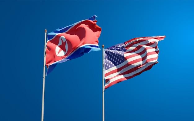 Beaux Drapeaux Nationaux De La Corée Du Nord Et Des états-unis Ensemble Photo Premium