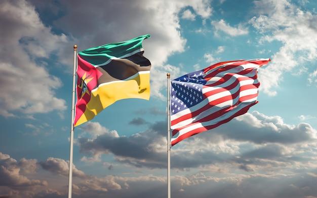 Beaux Drapeaux Nationaux Du Mozambique Et Des Usa Ensemble Photo Premium