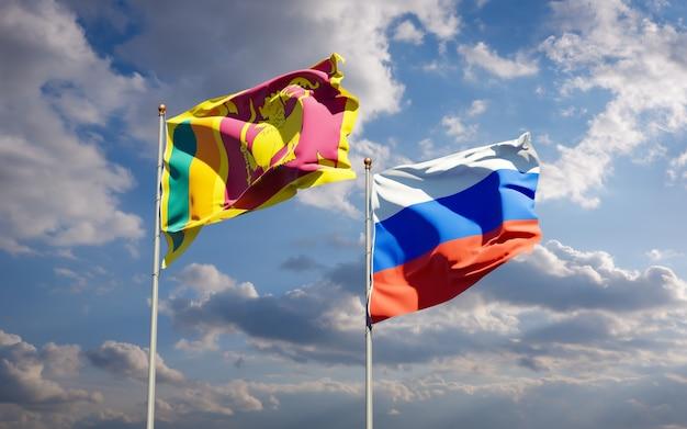 Beaux Drapeaux Nationaux Du Sri Lanka Et De La Russie Ensemble Sur Le Ciel Bleu. Illustration 3d Photo Premium
