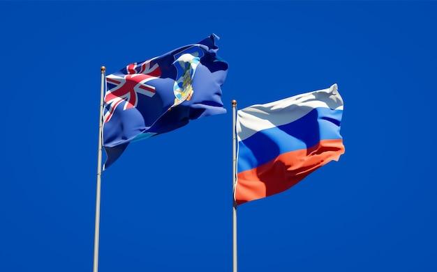 Beaux Drapeaux Nationaux Des îles Falkland Et De La Russie Ensemble Sur Le Ciel Bleu. Illustration 3d Photo Premium