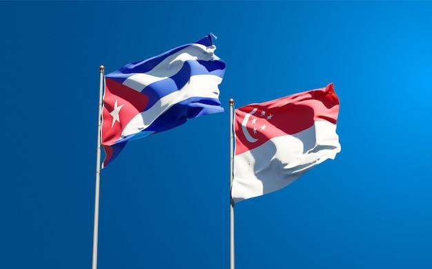 Beaux Drapeaux Nationaux De Singapour Et De Cuba Photo Premium