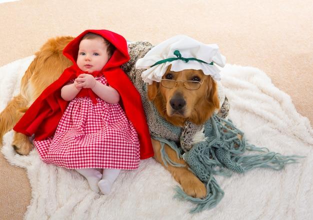 Bébé petit chaperon rouge avec chien de loup comme grand-mère Photo Premium