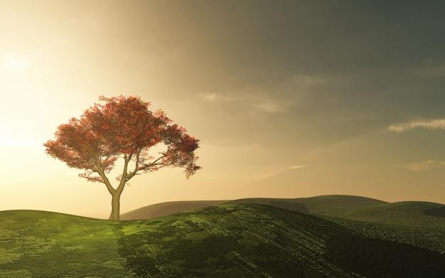 Bel arbre dans la campagne Photo gratuit